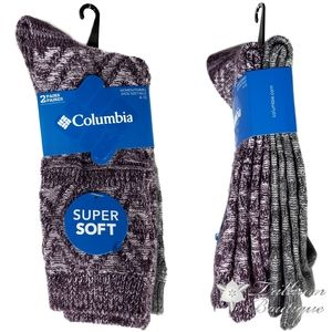 Columbia Women's Crew Socks 2 Pairs Shoe Size 4-10